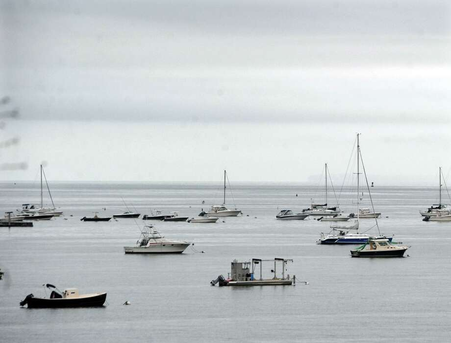 Boats can be seen moored in Byram Harbor off the coast of Greenwich, Conn., Tuesday, Sept. 11, 2018. Photo: Bob Luckey Jr. / Hearst Connecticut Media / Greenwich Time