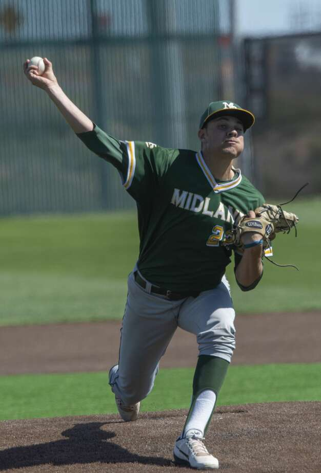 Midland College's starting pitcher Garrett Egli delivers a pitch 03/23/2019 as MC takes on NMMI at Christensen Stadium. Tim Fischer/Reporter-Telegram Photo: Tim Fischer