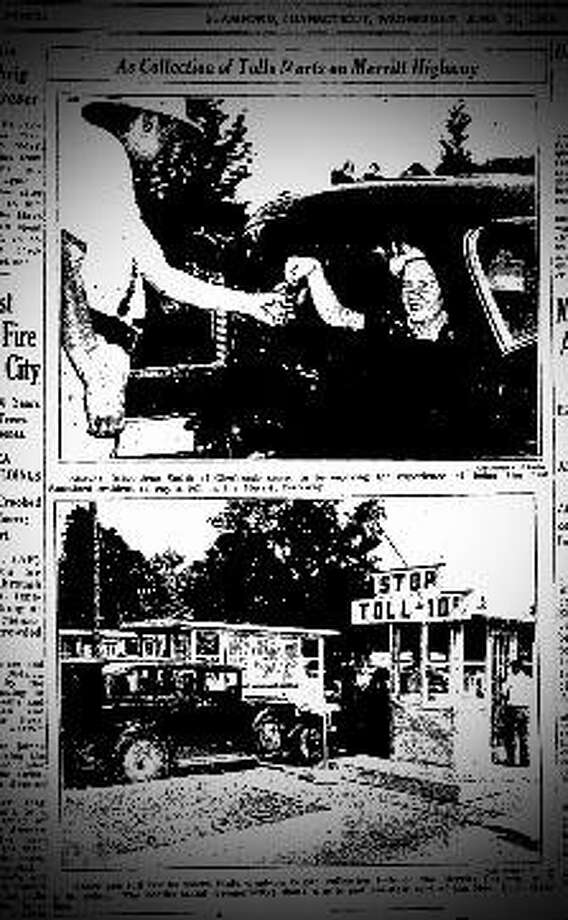 The Stamford Advocate reports tolls being collected on the Merritt Parkway for the first time in June 1939.