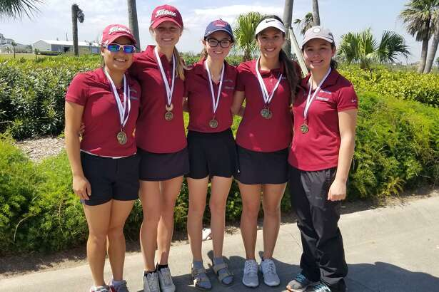 The Clear Creek girls' golf team won the District 24-6A preview at Moody Gardens Golf Course, shooting a 327 and winning by 23 strokes. Team members are (left to right) Trinity Le, Caroline Singletary, Peyton Galyean, Ana Vallejo and Bianca Zamora. Vallejo was the tournament champion, shooting a 78. Le, who was second medalist, also shot 78 but lost in a scorecard playoff. Singletary was fifth medalist, firing an 85.