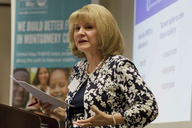 Anna M. Babin, President and CEO of United Way of Greater Houston, speaks as the United Way of Montgomery County hosts an open house for the organization's new THRIVE Center, Friday, March 22, 2019, in The Woodlands.