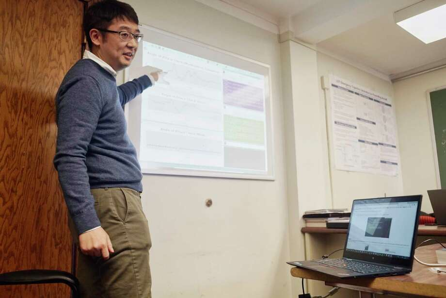 Shigeru Imai, an RPI computer science post doctoral student, talks about a data driven simulation of sensor failures and recovery for autopilot systems at RPI on Monday, March 18, 2019, in Troy, N.Y.    (Paul Buckowski/Times Union) Photo: Paul Buckowski / (Paul Buckowski/Times Union)