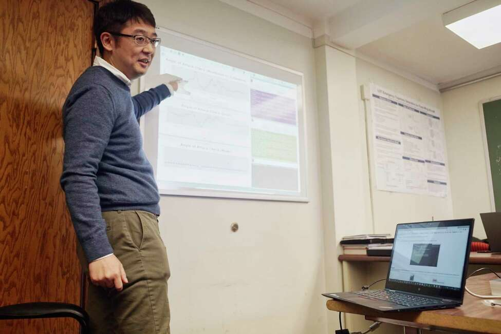 Shigeru Imai, an RPI computer science post doctoral student, talks about a data driven simulation of sensor failures and recovery for autopilot systems at RPI on Monday, March 18, 2019, in Troy, N.Y. (Paul Buckowski/Times Union)