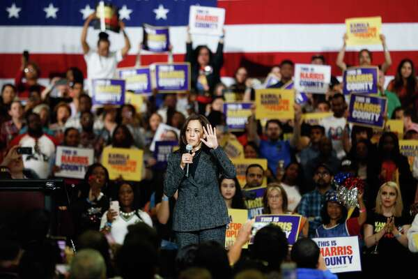 Kamala Harris speaks at Texas Southern University's Rec center during her rally as she runs for president, Saturday, March 22, 2019, in Houston.