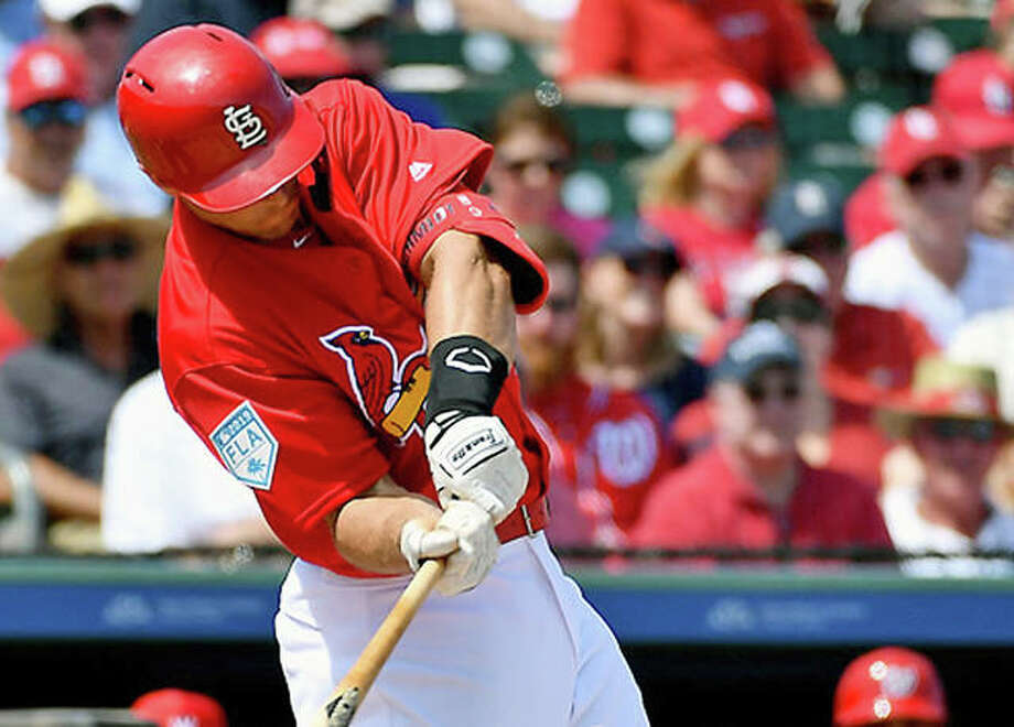 Cardinals first baseman Paul Goldschmidt agreed to a new contract with the team on Saturday that guarantees an additional $130 million from 2020-24. Goldschmidt, obtained from Arizona in December, is shown in spring training action against the Washington Nationals in Jupiter, Fla. Photo: AP Photo