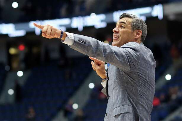 HARTFORD, CONNECTICUT - MARCH 21: Head coach Jay Wright of the Villanova Wildcats reacts in the first half against the Saint Mary's Gaels during the 2019 NCAA Men's Basketball Tournament at XL Center on March 21, 2019 in Hartford, Connecticut. (Photo by Rob Carr/Getty Images)