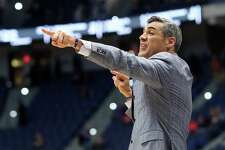 Coach Jay Wright of the Villanova Wildcats reacts in the first half against the Saint Mary's Gaels during the NCAA Men's Basketball Tournament at XL Center on Thursday in Hartford.