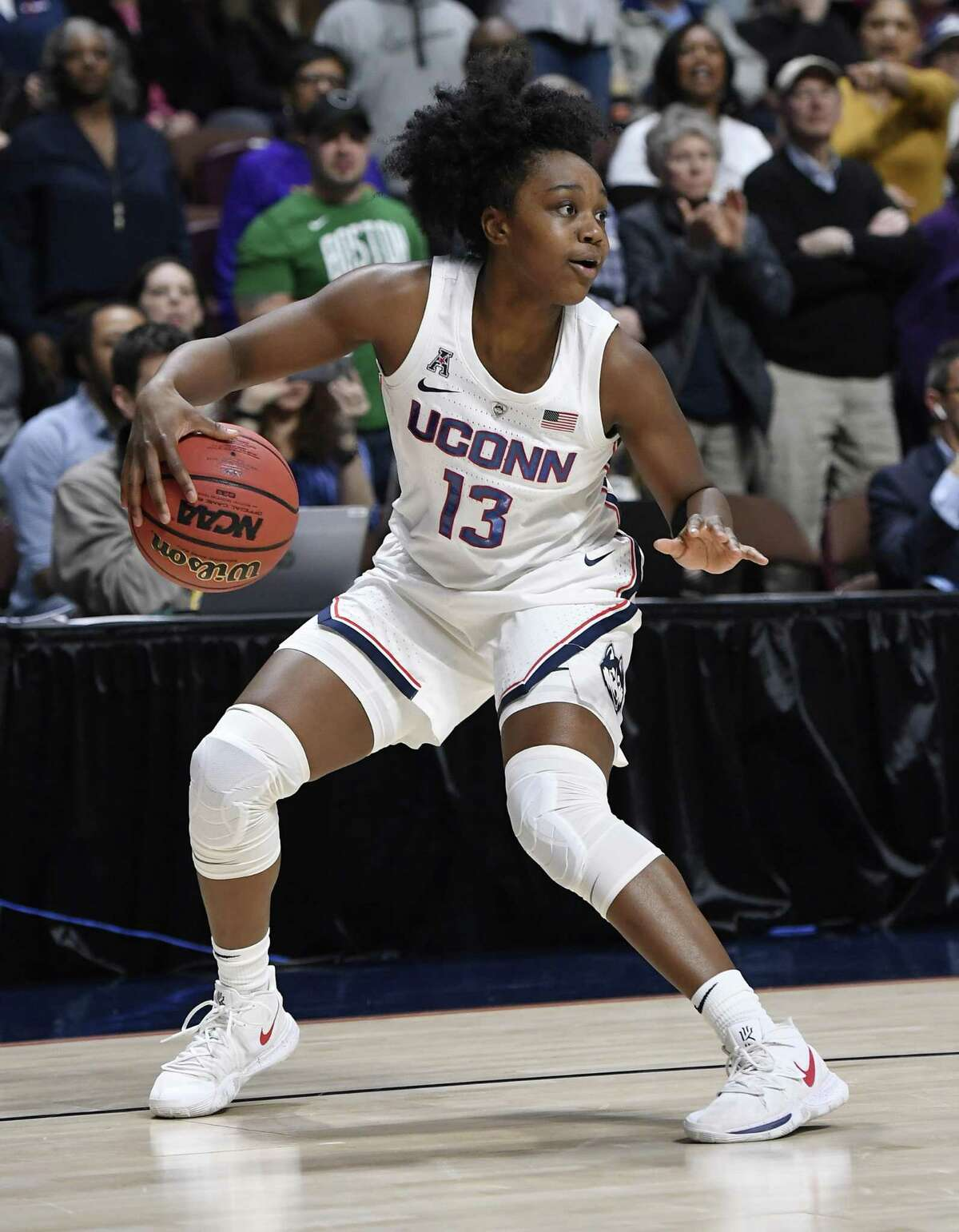 Connecticut's Christyn Williams during the first half of an NCAA college basketball game in the American Athletic Conference tournament quarterfinals, Saturday, March 9, 2019, at Mohegan Sun Arena in Uncasville, Conn. (AP Photo/Jessica Hill)