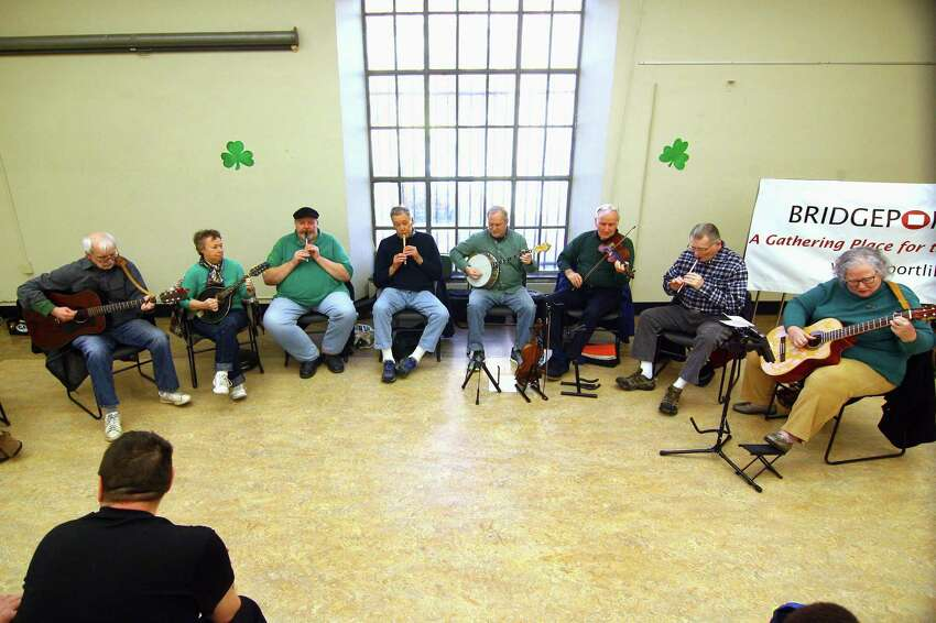 The Shamrogues perform at the Bridgeport Public Library in Bridgeport, Conn., on Saturday, Mar. 23, 2019. The band entertained the audience with traditional Irish songs, jigs and reels. They all played on traditional instruments like the fiddle, tin whistle and mandolin among others. The band, which is known as the largest Irish band in Connecticut, practices every Monday at 8 p.m. at the Gaelic-American Club in Fairfield.