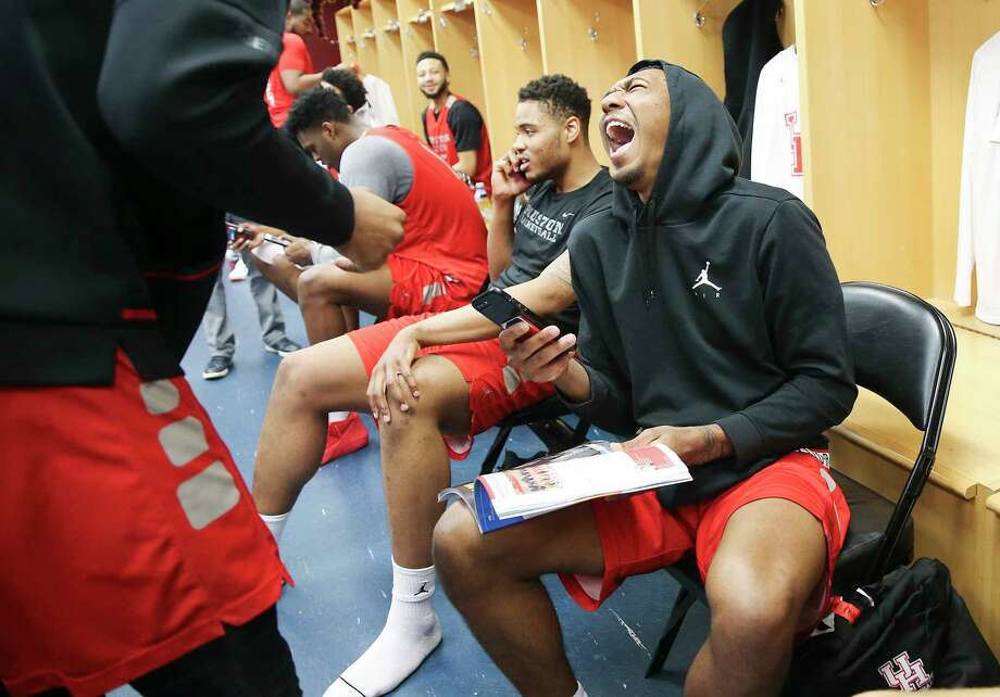 #3 Houston Cougars basketball team answers questions in the locker room after a closed practice on Saturday, March 23, 2019 in Houston. The Cougars will take on Ohio State in the second round of NCAA playoffs on Sunday, March 24, 2019 in Tulsa. Photo: Elizabeth Conley, Staff Photographer / © 2018 Houston Chronicle