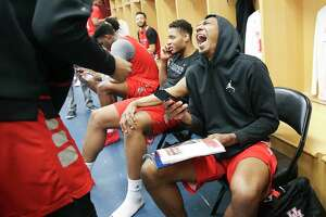 #3 Houston Cougars basketball team answers questions in the locker room after a closed practice on Saturday, March 23, 2019 in Houston. The Cougars will take on Ohio State in the second round of NCAA playoffs on Sunday, March 24, 2019 in Tulsa.