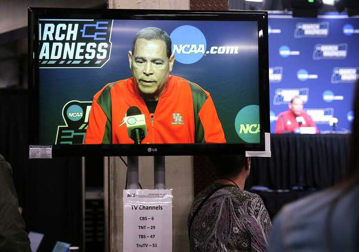 Houston Cougars head coach Kelvin Samspon answers questions from the media on Saturday, March 23, 2019 in Houston. The Cougars will take on Ohio State in the second round of NCAA playoffs on Sunday, March 24, 2019 in Tulsa.