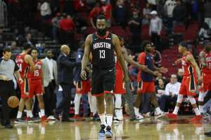 Houston Rockets guard James Harden (13) leaves the court after losing to the New Orleans Pelicans at Toyota Center on Tuesday, Jan. 29, 2019, in Houston.