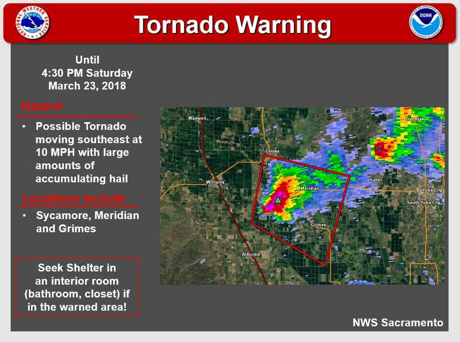Tornado warning issued for Colusa, Sutter counties