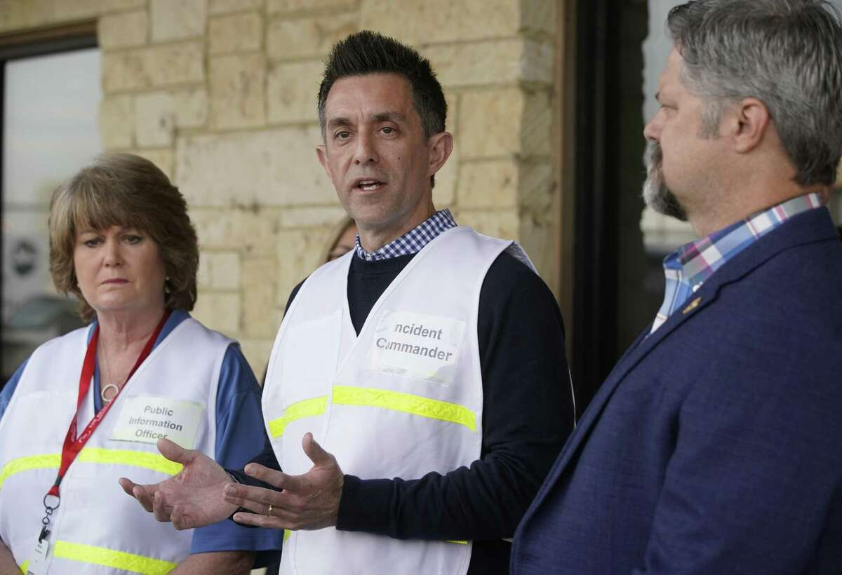 Alice Richardson, Intercontinental Terminals Company spokesperson, left, Brent Weber, ITC incident commander, and Jerry Mouton, Mayor of Deer Park, right, are shown during a press conference at the Intercontinental Terminals Company, 1030 Ethyl Rd. Saturday, March 23, 2019, in Pasadena.