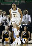 California center Kristine Anigwe (31) celebrates sinking a basket against North Carolina in the second half of a first round women's college basketball game in the NCAA Tournament in Waco, Texas, Saturday March 23, 2019.(AP Photo/Tony Gutierrez)