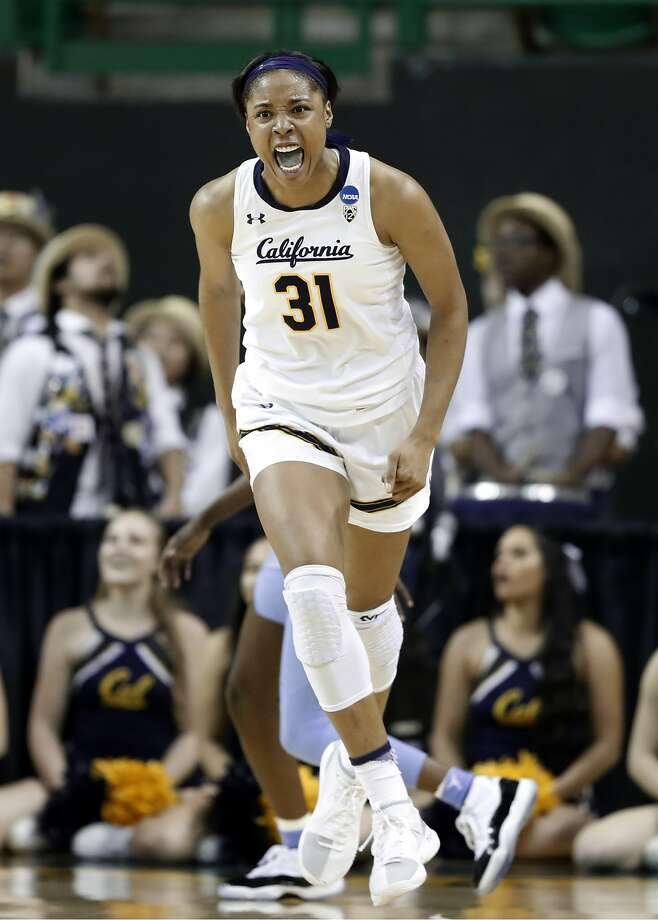 California center Kristine Anigwe (31) celebrates sinking a basket against North Carolina in the second half of a first round women's college basketball game in the NCAA Tournament in Waco, Texas, Saturday March 23, 2019.(AP Photo/Tony Gutierrez) Photo: Tony Gutierrez, Associated Press