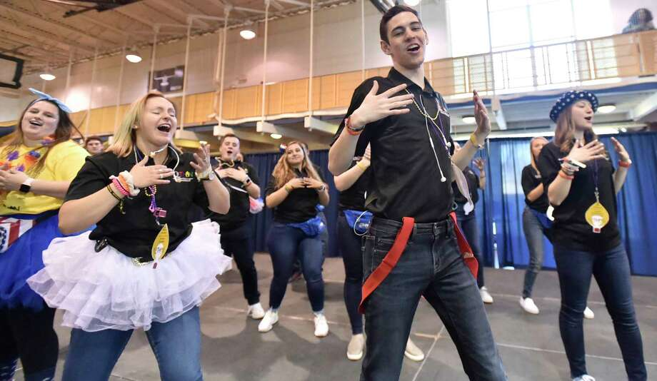 Hamden, Connecticut - Saturday, March 23, 2019:  Quinnipiac University students dance for 10-hours Saturday in the school's Athletic Center in Hamden  during QTHON, who are attempting to raise $323,000 for the Connecticut Children's Medical Center, a  comprehensive pediatric hospital in Hartford. Photo: Peter Hvizdak, Hearst Connecticut Media / New Haven Register
