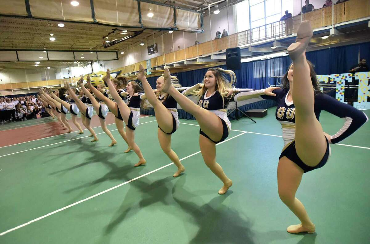 Hamden, Connecticut - Saturday, March 23, 2019: Quinnipiac University students dance for 10-hours Saturday in the school's Athletic Center in Hamden during QTHON, who are attempting to raise $323,000 for the Connecticut Children's Medical Center, a comprehensive pediatric hospital in Hartford.