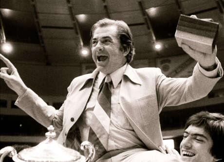 Texas coach Abe Lemons celebrates 1978 NIT title.