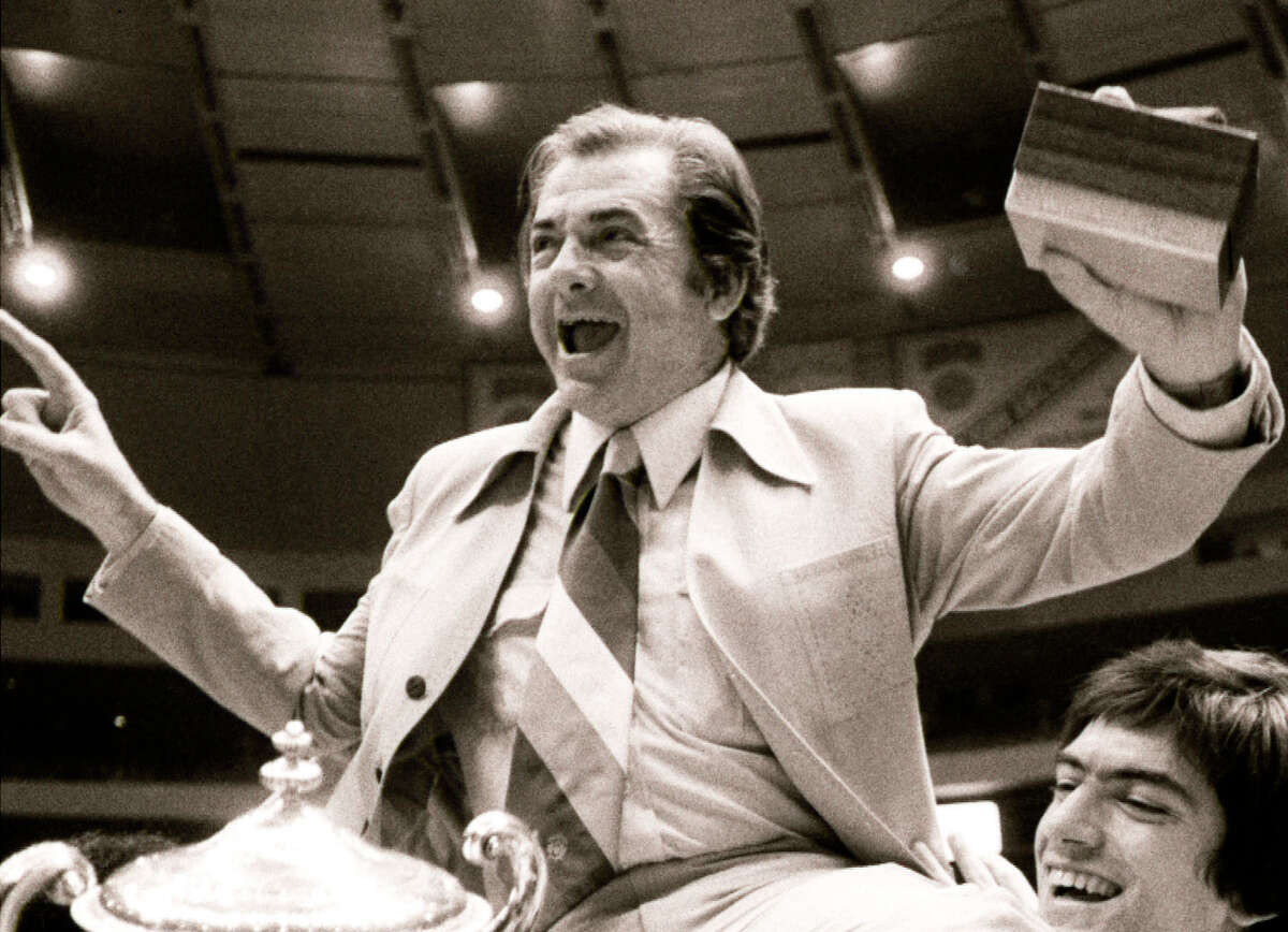 Texas coach Abe Lemons celebrates 1978 NIT title.