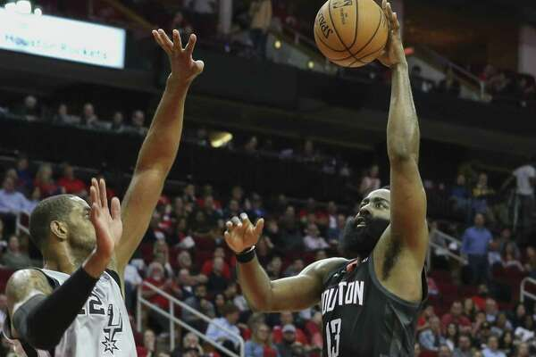 Part of the reason for the success and many scoring achievements of Rockets guard James Harden, right, this season is his durability. The team helps by limiting practice time.