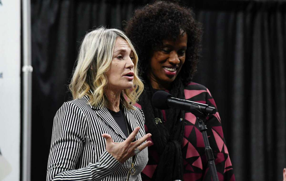 Former Olympian Nadia Comaneci speaks during a press conference for the Aurora Games on Wednesday, Jan. 23, 2019 at the Times Union Center in Albany, N.Y. (Phoebe Sheehan/Times Union)