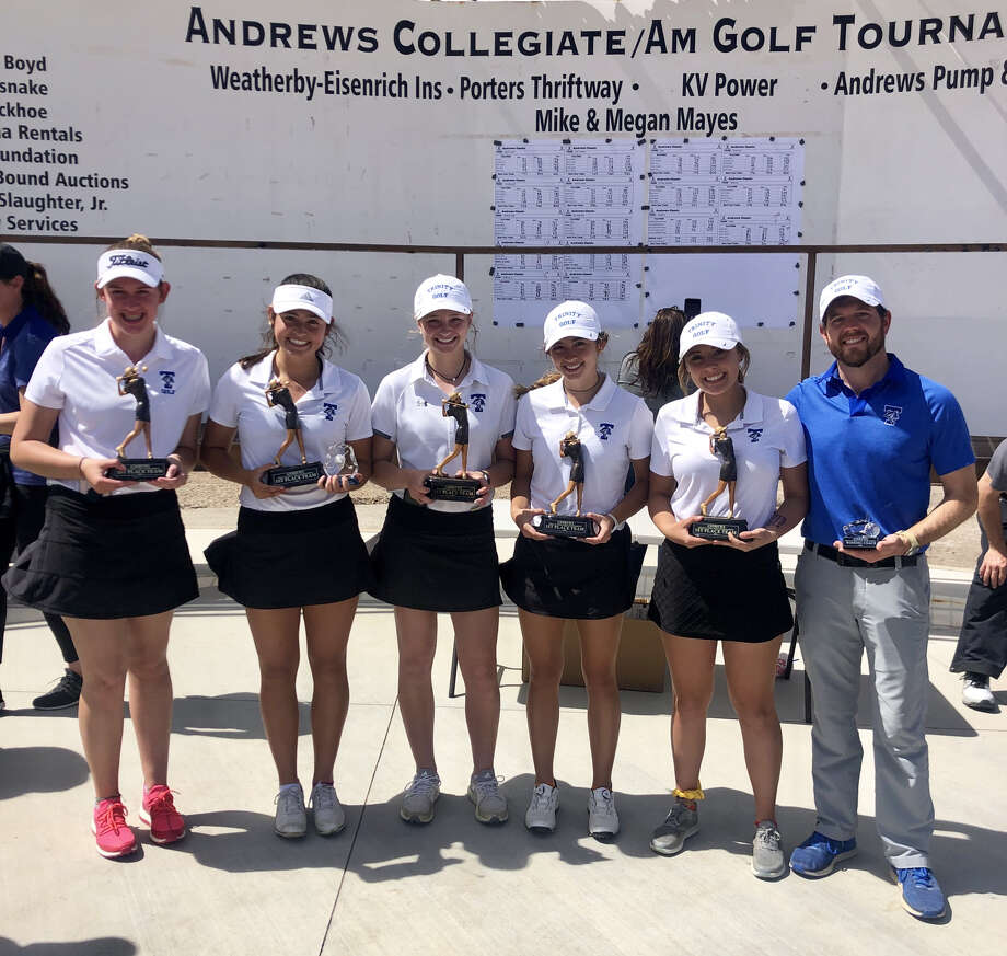 The Trinity golfers hold their awards after winning the Andrews Girls Classic golf tournament, Saturday at Andrews Golf Course. Photo: Courtesy Photo