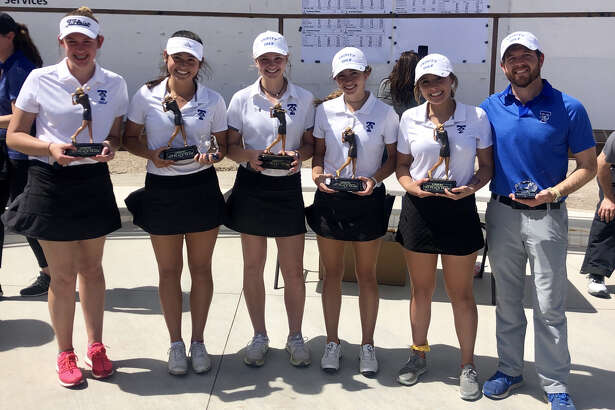 The Trinity golfers hold their awards after winning the Andrews Girls Classic golf tournament, Saturday at Andrews Golf Course.