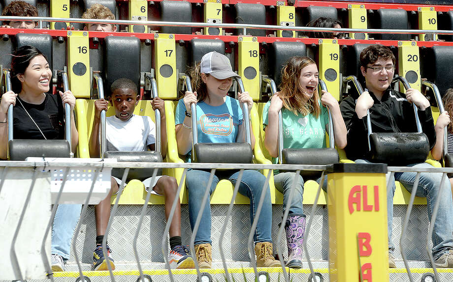 Fair-goers enjoy the many thrills of the midway at the YMBL South Texas State Fair Saturday. Photo taken Saturday, March 23, 2019 Kim Brent/The Enterprise Photo: Kim Brent/The Enterprise