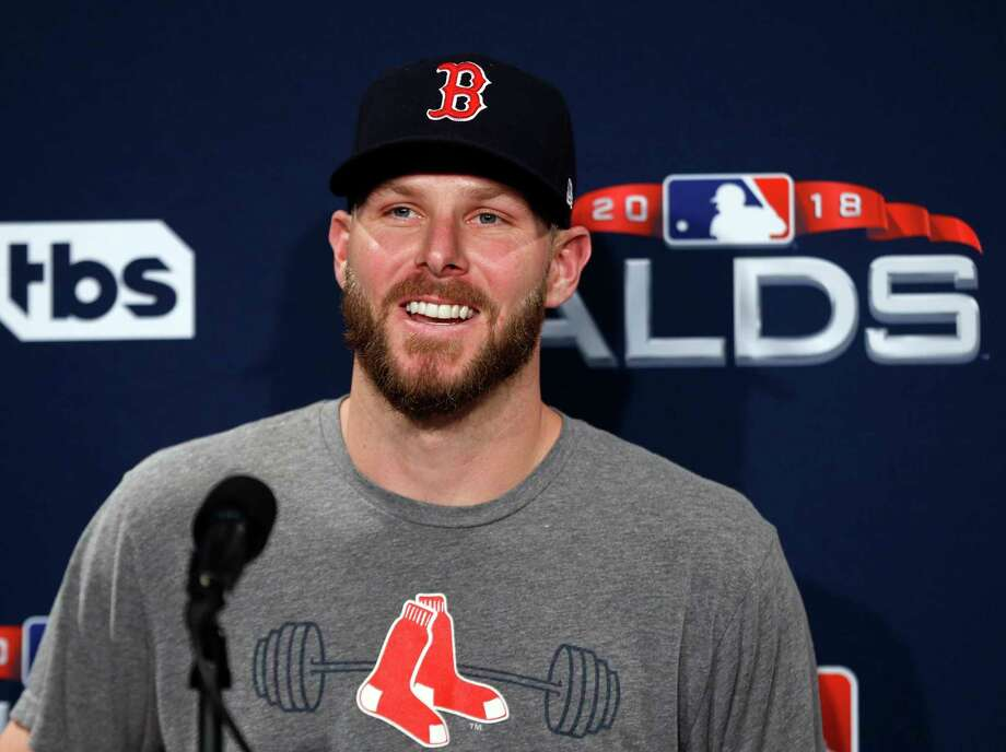 Boston Red Sox starting pitcher Chris Sale speaks to media before a  baseball workout at Fenway 1bd69b7e0