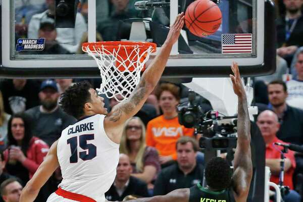 Gonzaga forward Brandon Clarke (15) blocks the shot of Baylor guard Mario Kegler (4) during the second half of a second-round game in the NCAA men's college basketball tournament Saturday, March 23, 2019, in Salt Lake City. (AP Photo/Rick Bowmer)