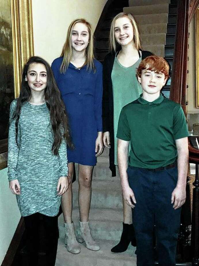 Among this year's junior attendants for the Art Association of Jacksonville's 62nd Beaux Arts Ball are Grace Elizabeth Newman (from left), Lilly Ruth Geirnaiert, Grace Elizabeth Geirnaiert and Benjamin Thomas Jackson. Photo: Photo Provided
