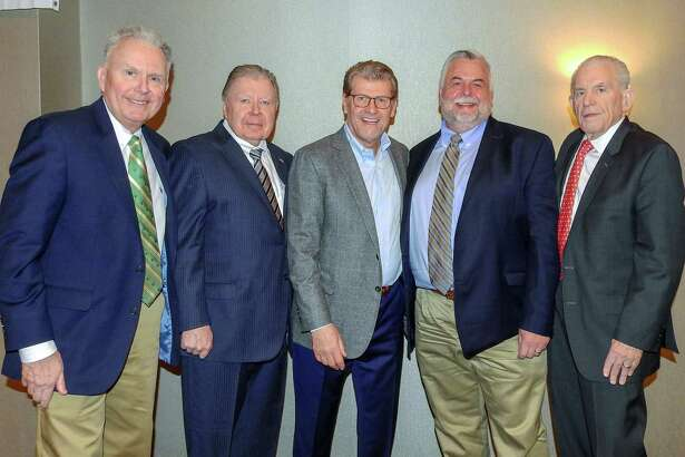 UConn Women's Basketball Coach Geno Auriemma spoke at a Middlesex County Chamber of Commerce Member Breakfast March 18. From left are Corporate Underwriting Manager at MiddleOak, William Haggerty; Chamber Chairman Jay Polke, Auriemma, Vice Chairman Don DeVivo and Chamber President Larry McHugh.