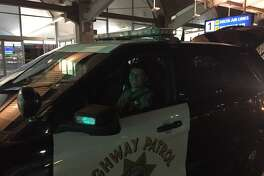 CHP Officer Rosales gave two newlyweds a ride to the airport in his patrol car when their car broke down in Oakland.