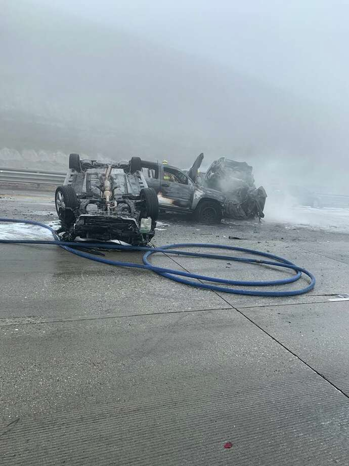 A multi-car crash on I-5 involving about 30 vehicles Saturday and sent at least four people to the hospital with critical injuries, according to reports.