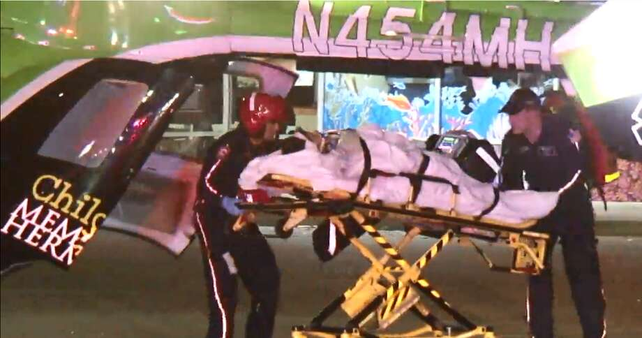 A 60-year-old woman is in critical condition after being struck by a drunk driver in northwest Houston early morning on March 24, 2019. Photo: MetroVideo