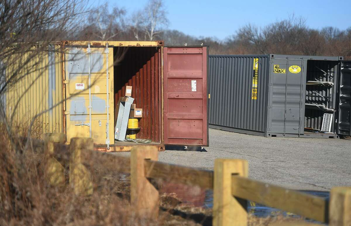 Two of the construction storage containers, one of which was burned in a fire over night, at Silver Sands State Park in Milford, Conn. on Sunday, March 24, 2019. The containers hold supplies for the ongoing construction project at the park. Newly constructed concessions, bathrooms, and park offices were totally destroyed in a fire last Tuesday.