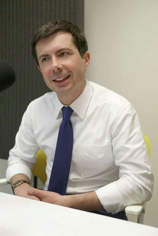 South Bend Indiana Mayor Pete Buttigieg brings his presidential campaign to San Francisco and does a podcast at the San Francisco Chronicle with reporter Joe Garofoli on Feb. 25, 2019 in San Francisco, Calif. Photo: Liz Hafalia / The Chronicle / online_yes