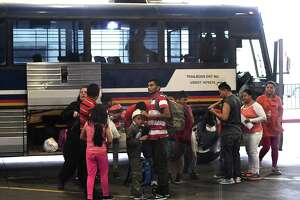 Central American migrants that were released after being taken into custody and processed are dropped off at the Laredo bus station on Friday, March 15, 2019, where they will board buses to their destinations. They will go before immigration judges who will decide on their asylum claims.