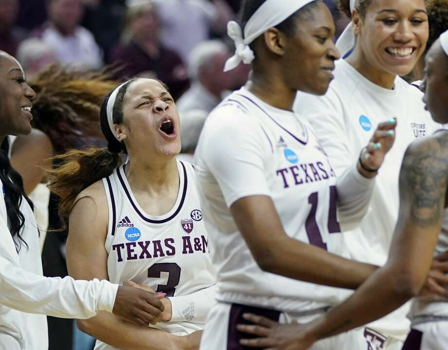 Texas A&M's Chennedy Carter (3) celebrates with teammates after a second round women's college basketball game against Marquette in the NCAA Tournament Sunday, March 24, 2019, in College Station, Texas. Texas A&M won 78-76. (AP Photo/David J. Phillip) Photo: David J. Phillip/Associated Press