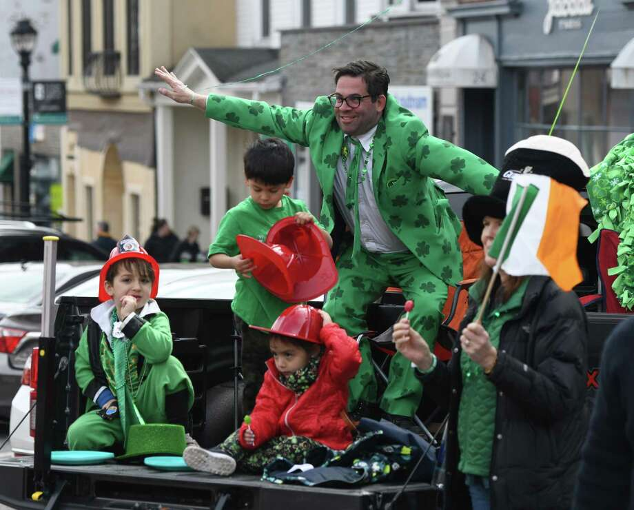 Greenwich's annual St. Patrick's Day Parade takes place March 22, with former selectman John Toner as Grand Marshall. Pictured is a scene from the 2019 march. Photo: Tyler Sizemore / Hearst Connecticut Media File Photo / Greenwich Time