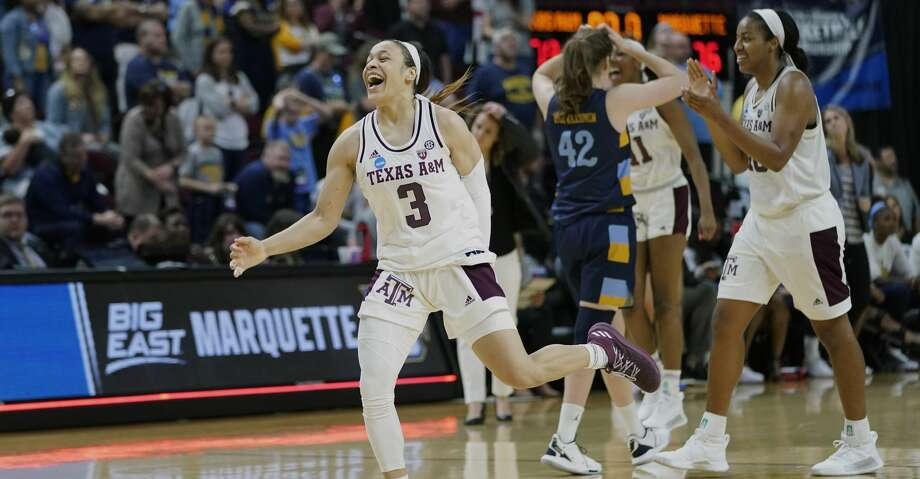 Texas A&M's Chennedy Carter (3) celebrates after second round women's college basketball game against Marquette in the NCAA Tournament Sunday, March 24, 2019, in College Station, Texas. Texas A&M won 78-76. (AP Photo/David J. Phillip) Photo: David J. Phillip/Associated Press