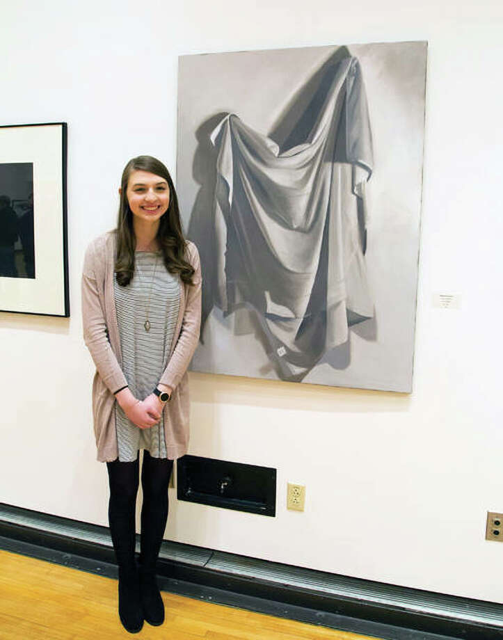 """Honors College student Katherine Schoeberle placed third for her oil painting, """"Drapery Study #6,"""" during L&C's 2018 Student Art Exhibit. Photo: For The Intelligencer"""