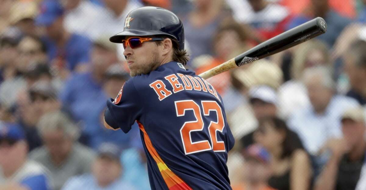 PHOTOS: Top prospects Houston Astros' Josh Reddick singles during the third inning of an exhibition spring training baseball game against the New York Mets Monday, Feb. 25, 2019, in West Palm Beach, Fla. (AP Photo/Jeff Roberson) Browse through the photos to see the Astros' top prospects ahead of the 2019 season.