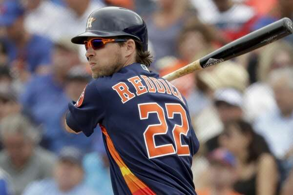 01731059968 1of31PHOTOS  Top prospects Houston Astros  Josh Reddick singles during the  third inning of an exhibition spring training baseball game against the New  York ...