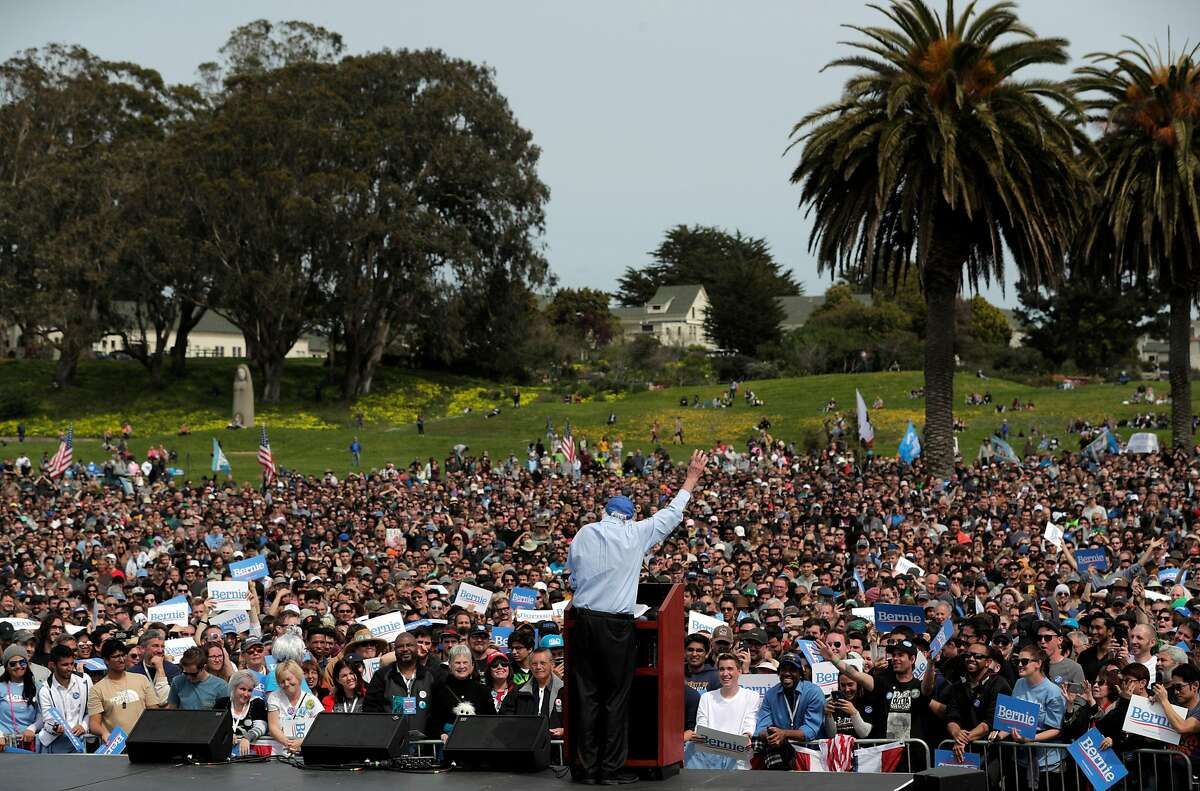 Democratic presidential candidate Sen. Bernie Sanders, I-Vt., speaks to supporters during a rally at Great Meadow Park at Fort Mason in San Francisco, Calif., on Sunday, March 24, 2019.