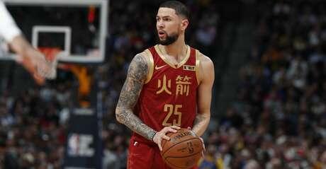 Houston Rockets guard Austin Rivers (25) in the first half of an NBA basketball game Friday, Feb. 1, 2019, in Denver. (AP Photo/David Zalubowski)