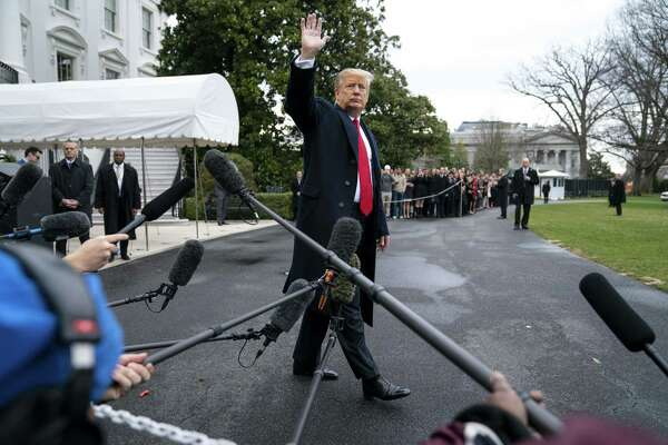 President Donald Trump leaves the White House on Friday.