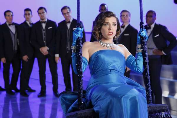 Rachel Bloom as the obsessive Rebecca in a fantasy sequence that pays homage to Marilyn Monroe in the musical 'Diamonds Are a Girl's Best Friend,' in 'Crazy Ex-Girfriend,' season two, on The CW